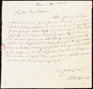 Letter from Mary Merrick Brooks, Concord, [Mass.], to Maria Weston Chapman, Oct. 11th, 1841