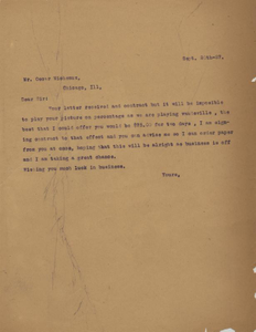 Letter: Macon, Georgia to Oscar Micheaux, Chicago, Illinois, 1927 Sept. 20