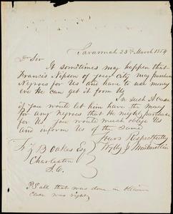 Wylly & Montmollin, Savannah, Ga., manuscript letter signed to Ziba B. Oakes, 23 March 1854