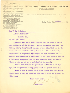 Letter from The National Association of Teachers in Colored Schools to W. E. B. Du Bois