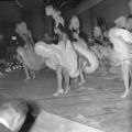 Film negatives of cancan dancers in the Moulin Rouge opening show, May 24, 1955
