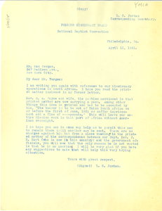 Letter from L. G. Jordan to Max Yergan