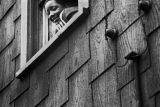 Jasper Wood Collection: Smiling girl looking out of window of shingled house