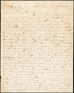Letter from Simeon Smith Jocelyn, New Haven, [Connecticut], to William Lloyd Garrison, 1831 Sept[ember] 29th