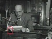 WSB-TV newsfilm clip of Georgia House of Representatives clerk Glenn Wilson Ellard reading a committee report regarding integration at the University of Georgia in Atlanta, Georgia, 1961 January 19