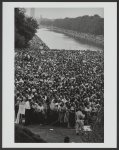 [Crowd behind fence and around the Lincoln Memorial Reflecting Pool at the March on Washington]