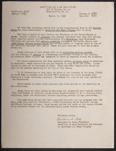 """Letter to supporters from Tomlinson D. Todd announcing anniversary of """"Americans All"""" radio program"""