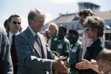 Jimmy Carter shaking hands with supporters at the Birmingham Municipal Airport during the 1976 presidential campaign.