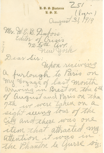 Letter from E. C. Rogers to W. E. B. Du Bois