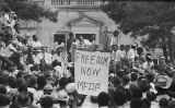 James Meredith addressing the crowd in front of the capitol in Jackson, Mississippi, at the end of the March Against Fear begun by James Meredith.