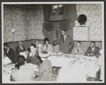 Golden State Mutual artist Hale Woodruff speaks at an unidentified gathering