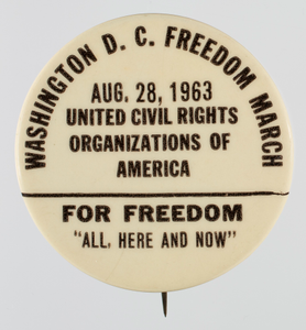 Pin-back button for the 1963 Freedom March