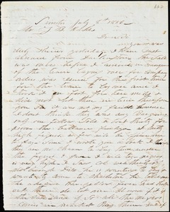 A. J. McElveen, Sumter, S.C., autograph letter signed to Ziba B. Oakes, 8 July 1856