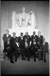 [Group portrait of March on Washington leaders and organizers in front of the statue of Abraham Lincoln at the Lincoln Memorial]