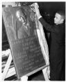 Trenton, New Jersey. Carver Center Branch YMCA. Robert Baker unveiling a plaque of George Washington Carver, February 1946.