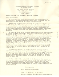 Letter from Interdenominational Ministerial Alliance of Davidson County to Fisk University Board of Trustees