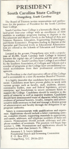 President of South Carolina State College Advertisement