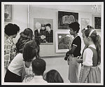 """Playwright Lorraine Hansberry in new role. She served as one of the judges of art exhibition, """"Pictures of Peace"""", by schoolchildren fron nine Greenwich Village schools, from which two pictures were selected to be sent to Mrs. Kennedy and Mrs. Khrushchev ..."""