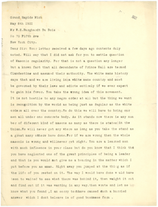 Letter from Edward T. Shields to W. E. B. Du Bois
