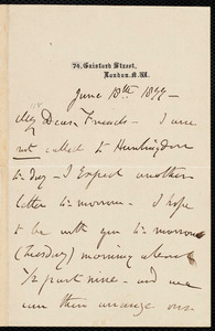 Letter from Henry Vincent, 74 Gaisford Street, London, [England], to Francis Jackson Garrison, and William Lloyd Garrison, June 18, 1877