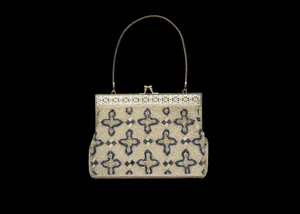 Silver handbag with beadwork decoration from Mae's Millinery Shop