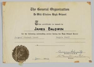 Award Certificate from DeWitt Clinton High School