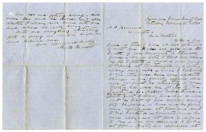 [Letter from Michael M. Kennard to A.D Kennard, February 25, 1860] A. D. Kennard Family Papers, 1842-1884