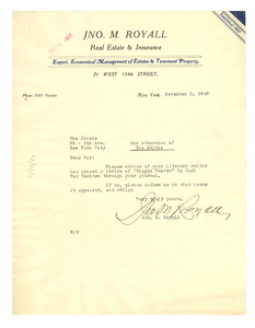 Thumbnail for Letter from John M. Royall to Editor of the Crisis