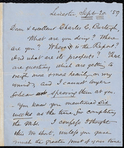 Letter from Samuel May, Leicester, [Mass.], to Charles Calistus Burleigh, Sept. 20, ' 59