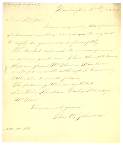 Letter from Thomas A. Johnson to W. E. B. Du Bois