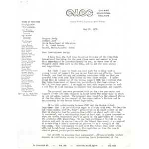 Letter, Gregory Anrig, May 25, 1979.