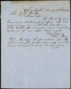 John Daly, Charleston, S.C., autograph letter signed to Ziba B. Oakes, 7 January 1854