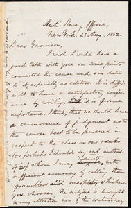 Thumbnail for Letter from Oliver Johnson, New York, [N.Y.], to William Lloyd Garrison, 28 Aug[ust], 1862