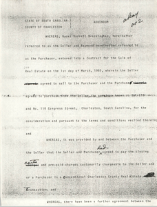 Addendum, draft, State of South Carolina, County of Charleston, Naomi Barrett Brockington and Raymond Barrett