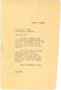 Letter from W. E. B. Du Bois to M. D. Bibb