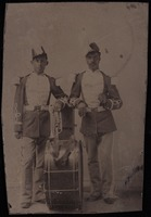 Tintype of two unidentified buffalo soldiers with musical instruments
