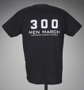 Black t-shirt for 300 Men March worn at a rally after the death of Freddie Gray