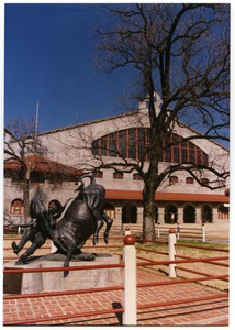 Sculpture of African American cowboy and rodeo and film star Bill Pickett