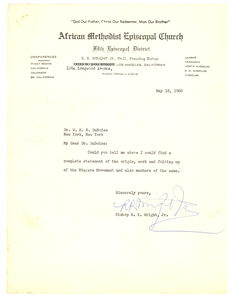 Letter from Bishop R. R. Wright, Jr. to W. E. B. Du Bois