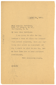 Letter from W. E. B. Du Bois to Ophelia Davidson