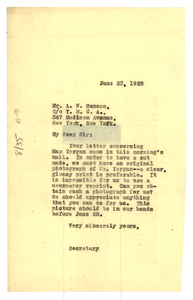 Letter from Crisis to Y.M.C.A. National Council