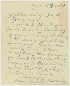 Letter from Mamie E. Talbot to Jephtha Lodge, No. 11, 1923 January 10