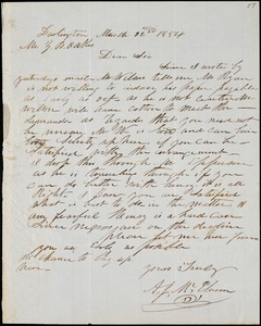 A. J. McElveen, Darlington, S.C., autograph letter signed to Ziba B. Oakes, 22 March 1854