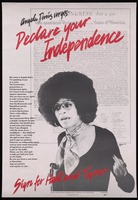 Poster. Angela Davis Urges - Declare your Independence