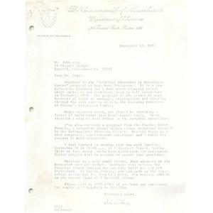 Letter, John Esty, September 18, 1974.