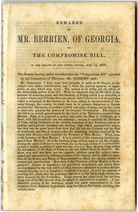 Remarks of Mr. Berrien, of Georgia, on the Compromise bill: In the Senate of the United States, June 16, 1850.