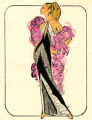 Costume design drawing, showgirl in a black and white halter-top evening gown with a magenta feather boa, Las Vegas, June 5, 1980
