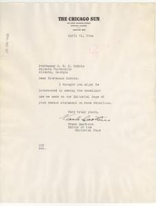 Letter from Chicago Sun to W. E. B. Du Bois