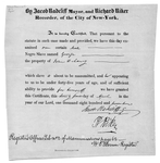Manumission certificate for slave named George signed by Radcliffe and Riker in New York City on April 24, 1817