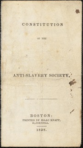 Constitution of the ... Anti-Slavery Society [manuscript]